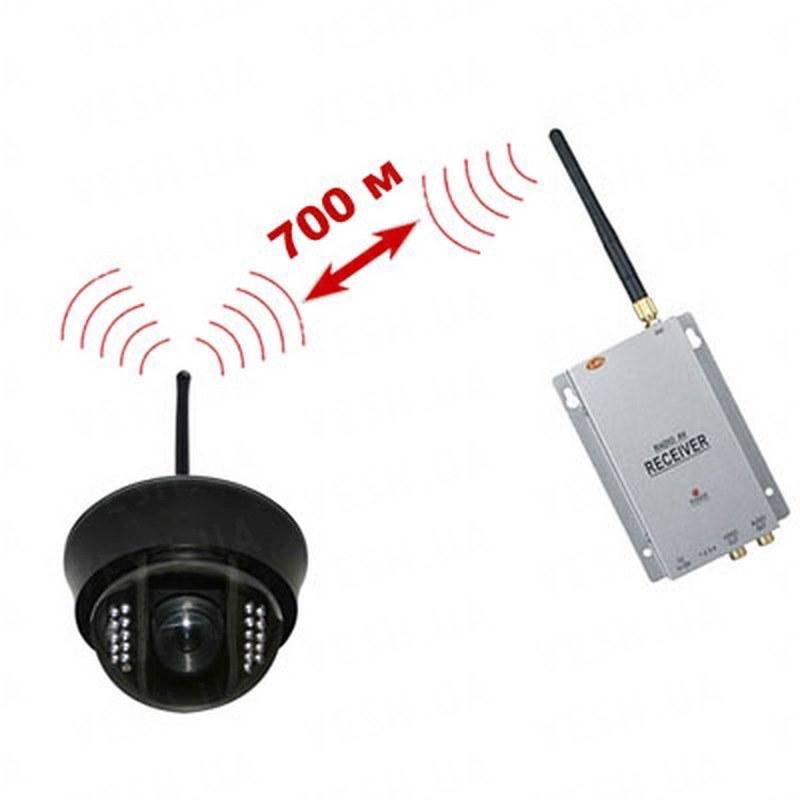 Комплект из беспроводной купольной камеры NCDOTIR 21w, 700TVL на 2.4 Ghz + приёмник видеосигнала (на выбор), дальностью до 700 метров (модель NCDOTIR 21W kit)