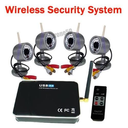 4-х камерная система беспроводного цифрового видеонаблюдения (4 камеры и USB DVR)