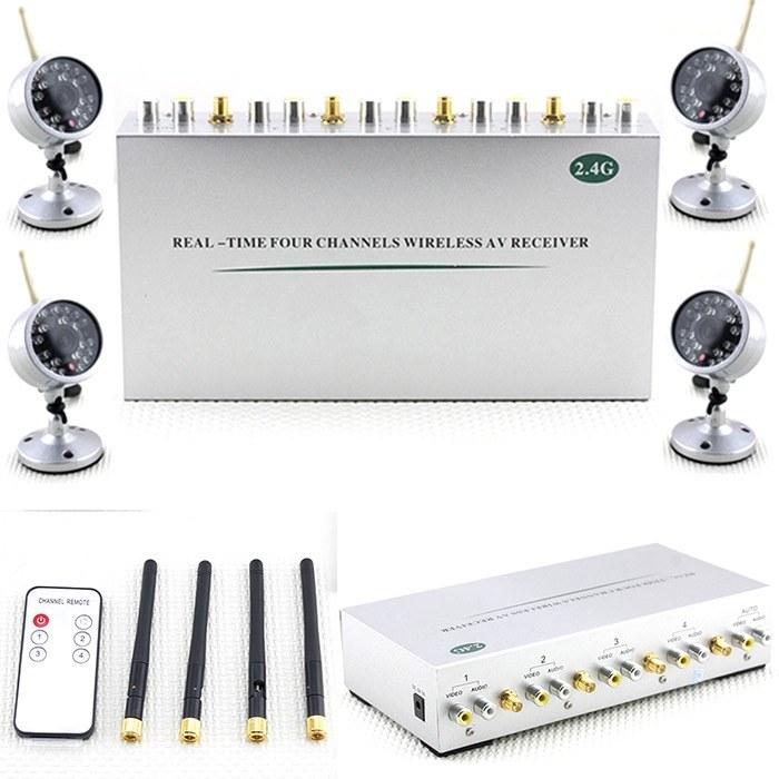Комплект из 4-х каналаного беспроводного видеоприемника для камер на 2.4GHz с поддержкой аудио и видео