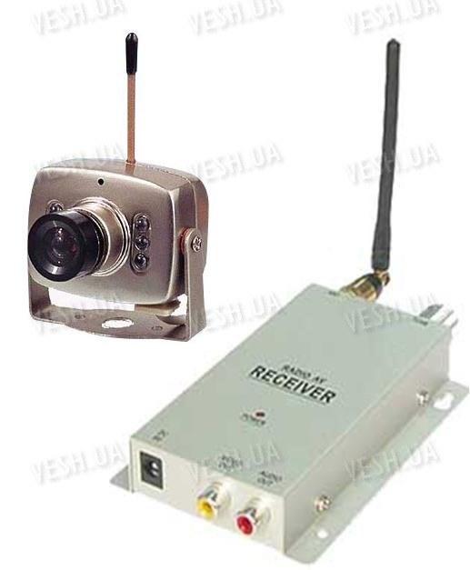 Набор беспроводная миниатюрная МИНИ видеокамера 1.2 Ghz + приёмник видеосигнала (модель BK-208A)