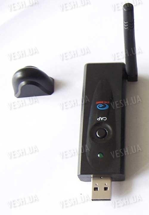 Портативный USB 4-х канальный мини приёмник сигналов от беспроводных радио видеокамер 2.4 Ghz в виде флешки для ноутбуков (модель WR-730)