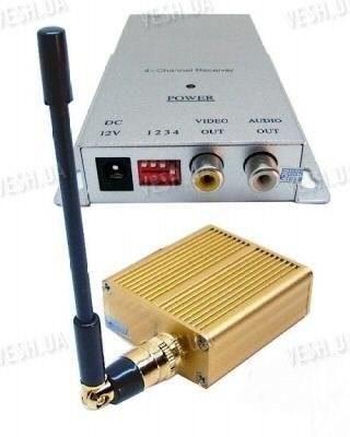 4-х канальный 1.5 W комплект беспроводной передачи видео на частоте 1.2 Ghz на расстояние до 1200 метров (ТХ 1500 А)