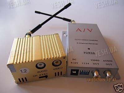 4-х канальный 3 W комплект беспроводной передачи видео на частоте 1.2 Ghz на расстояние до 2000 метров (ТХ 3000 А)