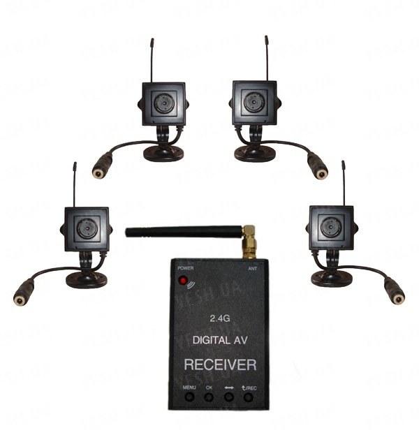Новый 4-x камерный цифровой комплект беспроводного видеонаблюдения 540 TVL для внутренней установки c детектором движения и записью на SD карту памяти, дальностью до 500 метров (модель KENVS B02kit x 4). НЕ ИМЕЕТ АНАЛОГОВ в УКРАИНЕ!!!