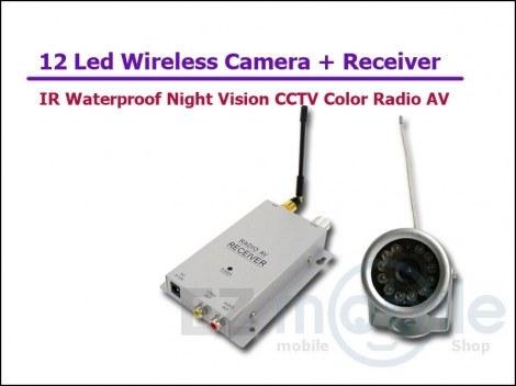 Набор беспроводная наружная влагозащитная радио видео камера с 12 IR светодиодами 1.2 Ghz + приёмник видеосигнала