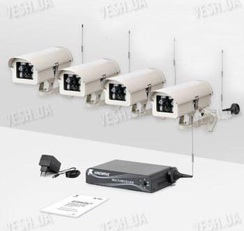 Комплект из 4-х беспроводных видеокамер и приемника видеосигнала дальностью до 2-х километров KW-KIT33х4 (без шифрования видео сигнала)