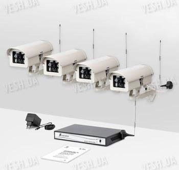 Комплект из 4-х беспроводных видеокамер и приемника видеосигнала дальностью до 2-х километров  KW-KIT28х4 (с шифрованием видео сигнала)