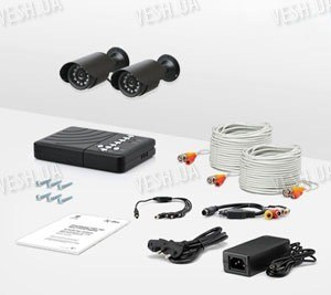 2-х камерный комплект уличного охранного видеонаблюдения со звуком CCTV CAM DVR CR-2
