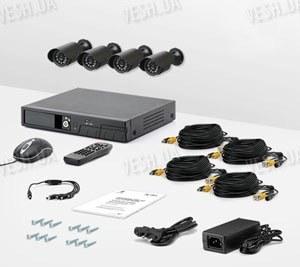 4-х камерный комплект проводного охранного видеонаблюдения CCTV CAM DCK-1001