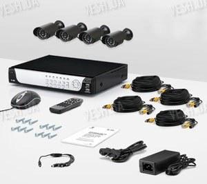 4-х камерный комплект проводного охранного видеонаблюдения CCTV CAM DCK-1002 KIT
