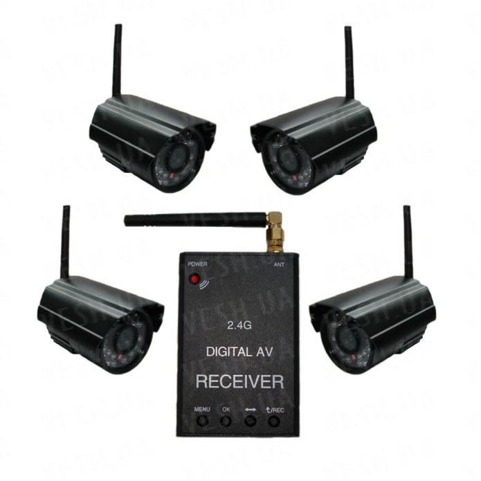 Новый 4-х камерный цифровой комплект беспроводного видеонаблюдения 540 TVL с дальностью до 500 метров с детектором движения и одновременной записью в REALTIME всех камер на SD карту памяти (модель KENVS B01kit x 4) НЕ ИМЕЕТ АНАЛОГОВ в УКРАИНЕ!!!