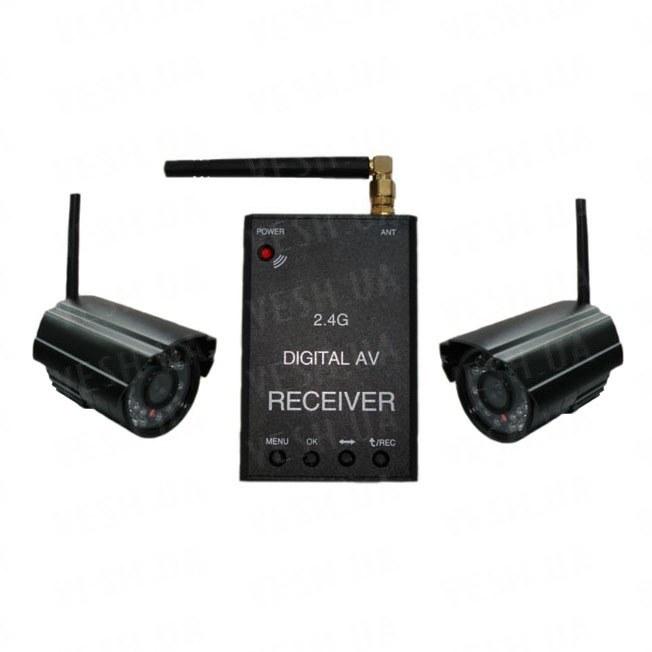 Новый 2-х камерный цифровой комплект беспроводного видеонаблюдения 540 TVL с дальностью до 500 метров с детектором движения и одновременной записью в REALTIME всех камер на SD карту памяти (модель KENVS B01kit x 2) НЕ ИМЕЕТ АНАЛОГОВ в УКРАИНЕ!!!