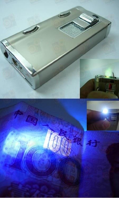 Ультрафиолетовый компактный детектор денег (банкнот) в виде зажигалки с функцией фонарика