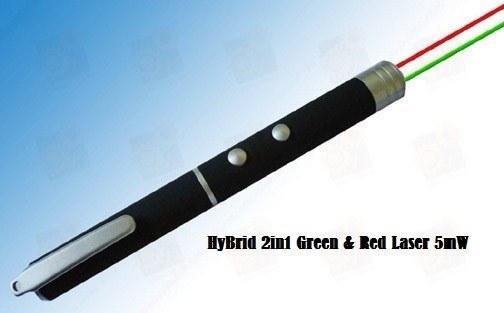 Лазер для презентаций 5мВт Красный + 5мВт Зеленый лазер (лазерная указка)