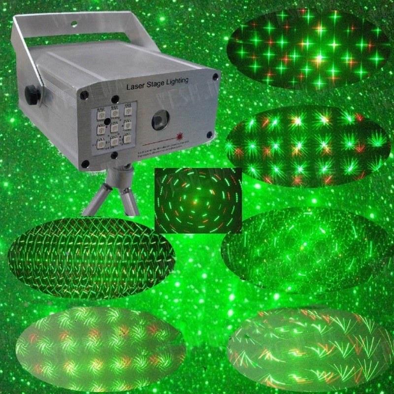 """Лазерный проектор """"Диско"""" 100мВт Красный + 50мВт Зеленый лазер с пультом ДУ"""