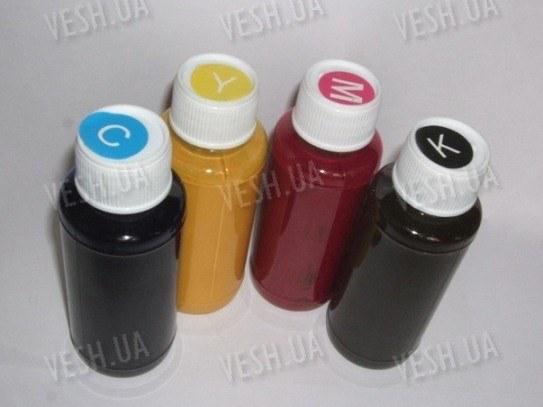 CMYK чернила для струйного принтера видимые при обычном свете и светящиеся в UV