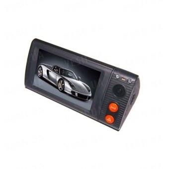 Первый 2-х камерный touch screen автомобильный видеорегистратор с 3-дюйм экраном, разрешением 1280*480, G-сенсором, поддержкой GPS, углом обзора 110 градусов (мод. P7)