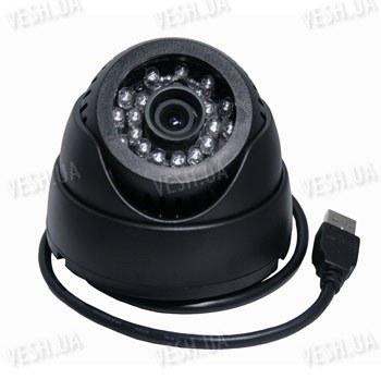 Автономная гибридная внутренняя купольная видеокамера со встроенным DVR видеорегистратором на micro SD картах памяти 640х480 и ИК подсветкой
