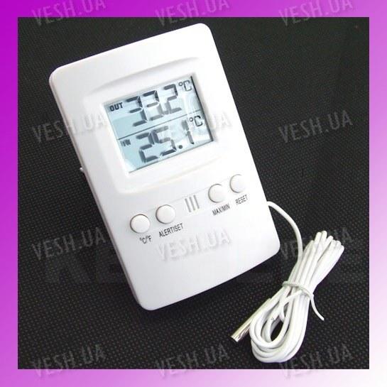 2-х дисплейный внутренне-наружный электронный цифровой термометр с выносным наружным датчиком