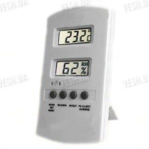 Цифровой внутренний термометр-влагомер с наружным датчиком температуры и 2-мя LCD экранами