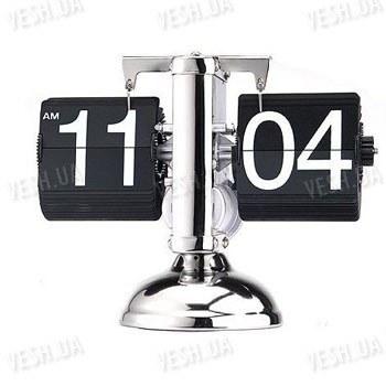 """Эксклюзивные оригинальные механические настольные часы с перелистывающимися цыфрами в стиле """"ретро"""" с схомированным корпусом"""