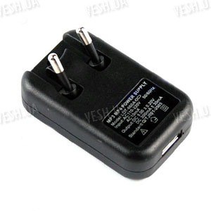 Импульсный блок питания в пластиковом корпусе с USB выходом 5V, 500mA (модель БП -005-1)