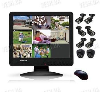 Готовый 8-ми камерный DIY комплект проводного видеонаблюдения с LCD COMBO DVR регистратором-монитором для самостоятельной установки (6 уличных камеры + 2 внутренних купольных камеры) (мод. KT1508L KIT 4)