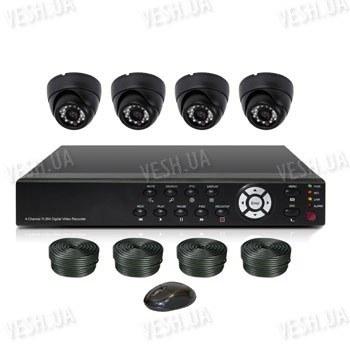 Готовый 4-х камерный DIY комплект проводного видеонаблюдения для самостоятельной установки (4 внутренних купольных камеры) (мод. KT7604AD-A Kit 1)