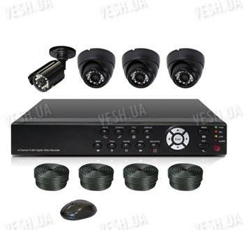 Готовый 4-х камерный DIY комплект проводного видеонаблюдения для самостоятельной установки (3 внутренних купольных камеры + 1 уличная камера) (мод. KT7604AD-A Kit 2)