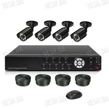 Готовый 4-х камерный DIY комплект проводного видеонаблюдения для самостоятельной установки (4 уличных камеры) (мод. KT7604AD-A Kit 5)
