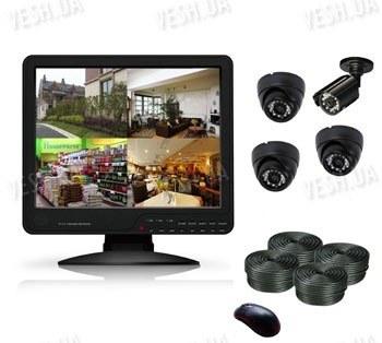 Готовый 4-х камерный DIY комплект проводного видеонаблюдения с LCD COMBO DVR регистратором-монитором для самостоятельной установки (3 внутренних купольных камеры + 1 уличная камера) (мод. KT1504L KIT 2)