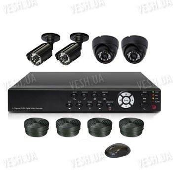 Готовый 4-х камерный DIY комплект проводного видеонаблюдения для самостоятельной установки (2 внутренних купольных камеры + 2 уличных камеры) (мод. KT7604AD-A Kit 3)