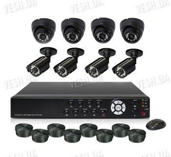Готовый 8-ми камерный DIY комплект проводного видеонаблюдения для самостоятельной установки (4 внутренних купольных камеры + 4 уличные камеры) (мод. KT7608AC KIT 3)