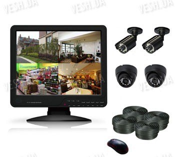 Готовый 4-х камерный DIY комплект проводного видеонаблюдения с LCD COMBO DVR регистратором-монитором для самостоятельной установки (2 внутренних купольных камеры + 2 уличных камеры) (мод. KT1504L KIT 3)