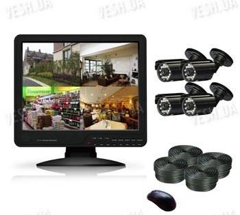 Готовый 4-х камерный DIY комплект проводного видеонаблюдения с LCD COMBO DVR регистратором-монитором для самостоятельной установки (4 уличных камеры) (мод. KT1504L KIT 5)