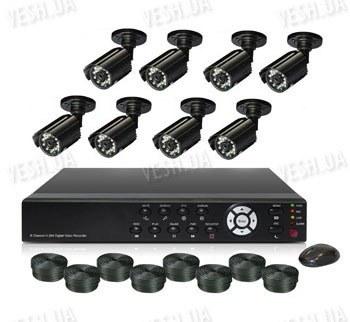 Готовый 8-ми камерный DIY комплект проводного видеонаблюдения для самостоятельной установки (8 уличных камер) (мод. KT7608AC KIT 5)