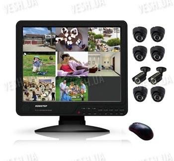 Готовый 8-ми камерный DIY комплект проводного видеонаблюдения с LCD COMBO DVR регистратором-монитором для самостоятельной установки (6 внутренних купольных камер + 2 уличных камеры) (мод. KT1508L KIT 2)