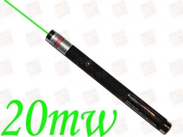 Оригинальная бюджетная зеленая лазерная указка 532 nm мощностью 20 mW