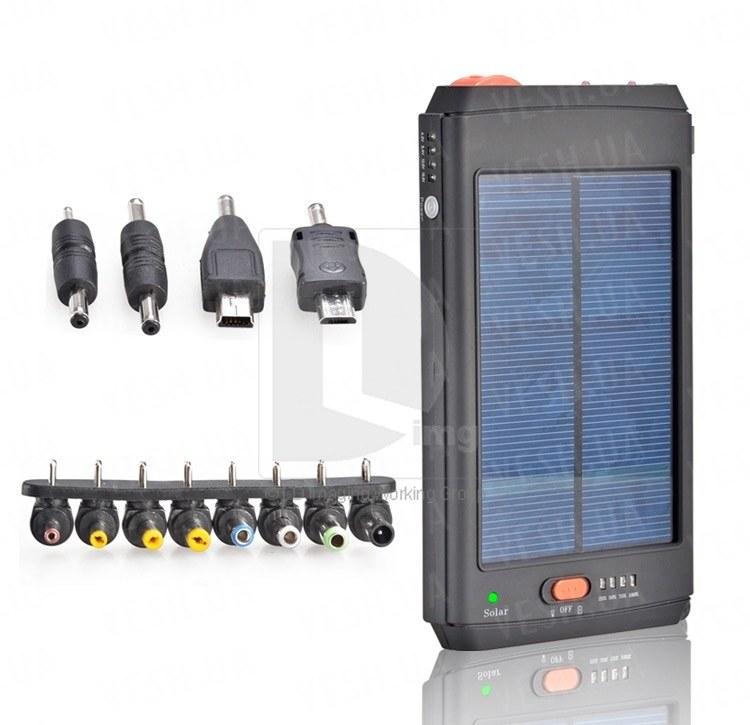 Солнечная батарея аккумулятор 12000mAh для всех телефонов, iPod, iPhone, iPad, USB + адаптер