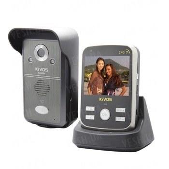Беспроводный влагозащитный видеодомофон с 3,5 дюймовым экраном, видео/фото записью на SD карту памяти до 4Gb, дальностью передачи до 300 метров (модель Kivos KDB300)