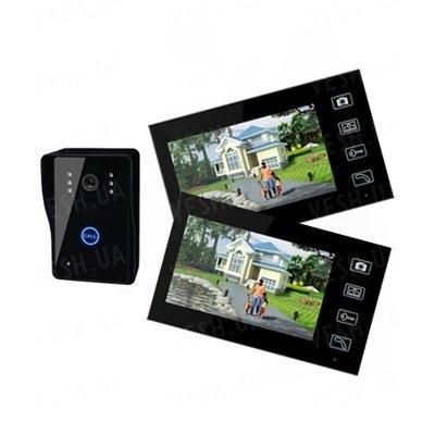 Беспроводный цифровой 7-ми дюймовыми видеодомофон с 2-мя мониторами с двусторонней аудиосвязью с передачей видеосигнала на расстояние до 150 метров (модель SY806х2)