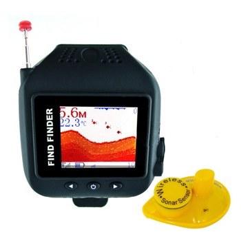 Беспроводной эхолот Fish Finder для рыбалки с 1.77 дюймовым монитором в виде наручных часов, дальностью до 60 метров (мод. FF-518)