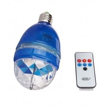 Разноцветная вращающаяся LED лампа с пультом ДУ и активацей под ритм для создания дискотечной светомузыки дома или в небольшом помещении