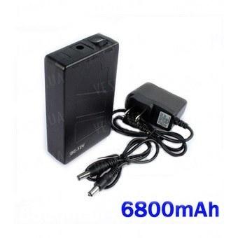 12V литий-полимерный перезаряжаемый аккумулятор 6800 mAh в чёрном пластиковом корпусе для питания охранных камер видеонаблюдения
