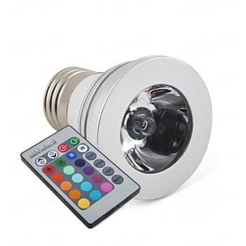 16-ти цветная 3W LED лампа с изменяющимися цветами и режимами освещения + пульт дистанционного управления (модель E-27-2T)