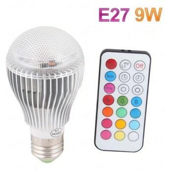 Супер мощная 16-ти цветная 9W LED лампочка с пультом дистанционного управления и разными режимами освещения - для больших комнат (мод. E-27-9W)