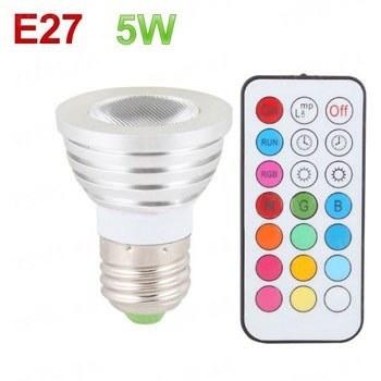 Мощная 16-ти цветная 5W LED лампа освещения с пультом ДУ и разными режимами освещения для создания романтической обстановки в помещении (модель E-27-5W)