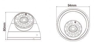 Наружная купольная  CCTV цветная охранная камера видеонаблюдения  1/3 CMOS, 600TVL, 0,1 LUX, ИK до 20 метров  (модель LIRDB)