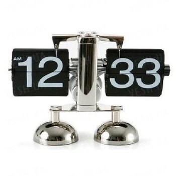 Эксклюзивные оригинальные механические настольные РЕТРО часы с перелистывающимися цифрами и хромированным корпусом (мод. CL-601)