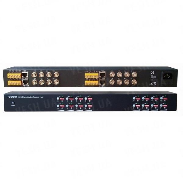 Активный 16-ти канальный приёмник видеосигнала с усилителем от камер видеонаблюдения по витой паре UTP на расстоянии до 1500 метров (модель DMV160R)